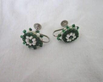 Vintage White & Green Glass beaded Screw back Earrings