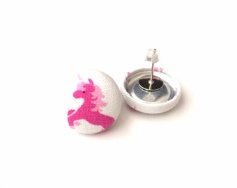 Pretty pink magical unicorn fabric button earrings