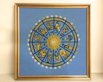 Zodiac. Wall Art. Embroidered. Vintage Embroidered Art. Zodiac Wheel. Sun and Stars. Yellow on Blue.