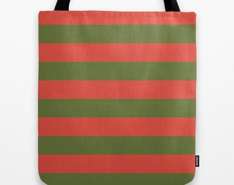Red and GreenTote Bag, Canvas Tote Bag, 16x16 Inch Tote Bag, Striped Tote Bag