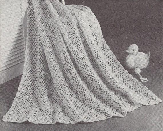 Patons Crochet Baby Shawl Patterns : Flower Patch 1950s Crochet Christening Baptism Baby Shawl