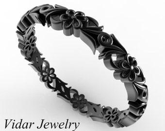 Vintage Wedding Band,Flower Wedding Band,Unique Wedding Band,Engraved Wedding Ring,Womens Wedding Band,Black Gold Wedding Ring
