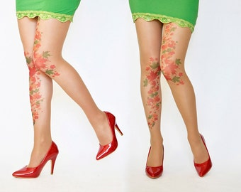 Leaves Tattoo Tights ,Printed  Handmade Tights,Leaf Tattoo Womens Pantyhose,S-XXL Sizes Available