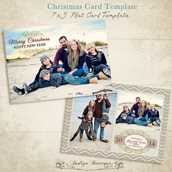 christmas card template 5x7and 4x6 photo card by indigoboutique. Black Bedroom Furniture Sets. Home Design Ideas