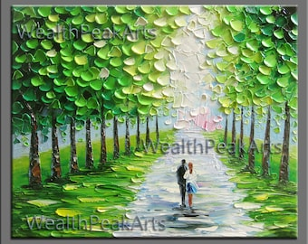 original oil painting,landscape painting,couple painting,impasto hand oil on canvas,famed,ready to hang,huge 36''