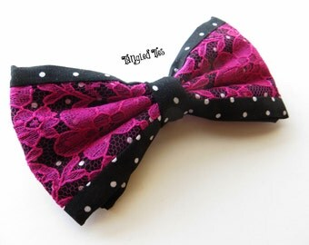 Lace Bow Tie, Women's, Black Polka Dot With Fuschia Lace Bowtie