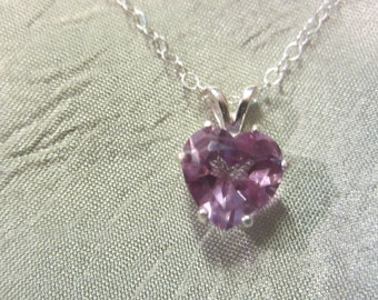 Petite Purple/Lavender Natural Amethyst Heart Pendant