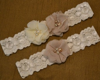 Wedding Garter, Wedding Garter Set, Champagne & Ivory Chiffon Flowers Wedding Garter Belt With Pearl and Rhinestone Embellishments