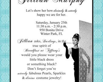 "Breakfast at Tiffany's Theme ""printable"" Bridal Shower Invitation"