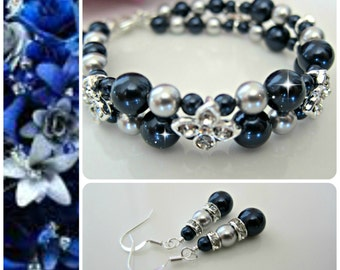 Night Blue Bridal Jewerly. Bridesmaid gift Silver Grey Navy Blue Bridesmaid gift Bridal party. Classic mother of bride complete jewelry set
