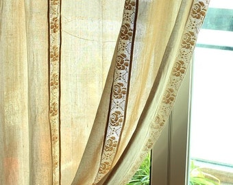 Shabby Chic British Rustic Beige Combined Hem Lace Rod Pocket/Pinch Pleated Drapes, Drapery Curtains