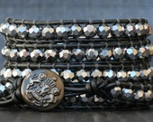 wrap bracelet- silver mirror finish faceted crystal beads on pewter leather- leather and crystal 5 wrap bracelet