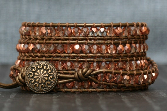 Rose Gold Crystal and Bronze Leather Wrap Bracelet