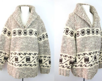 Classic Cowichan Large // Pullover Cream Cowichan // Mens Sweater