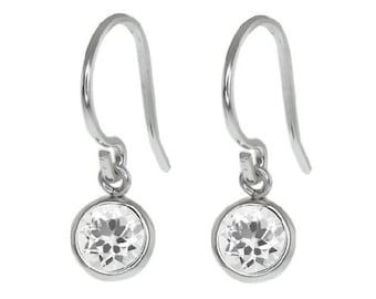 1 Carat White Sapphire Bezel Round Dangle Earrings .925 Sterling Silver Rhodium Finish