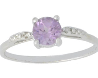 1 Ct Alexandrite & Diamond Round Ring .925 Sterling Silver Rhodium Finish