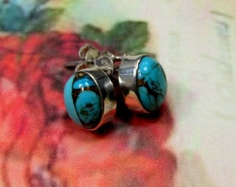 Tuquoise and Sterling Silver Stud Earrings