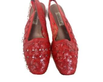 80s Vintage Shoes Red  Basket Weave Sandals Supple Leather Nicole 6.5 M
