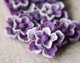 12 pcs of sakura flower cabochon-22mm-rc0166-purple white  swirl