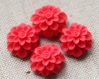 12 pcs of resin flower cabochon20mm-0031--40-red