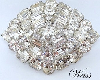 1950's Huge Weiss Huge Rhinestone Brooch - Weiss Jewelry - Weiss Brooch - Wedding Jewelry - Rhinestone Brooch - 1950s Jewelry
