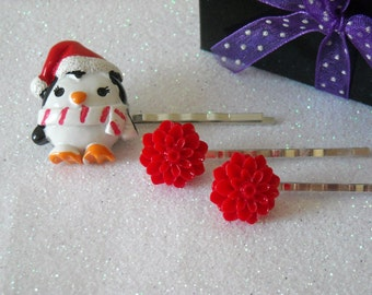 Holiday Penguin and red flowers silver tone plated bobby pins
