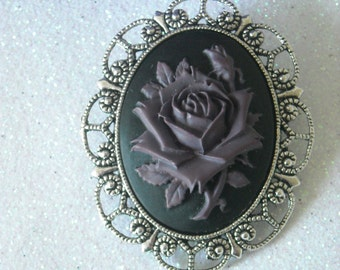 Deep Purple Rose Brooch