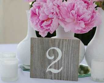 Wedding Table Numbers-handmade  wedding signs made from reclaimed wood
