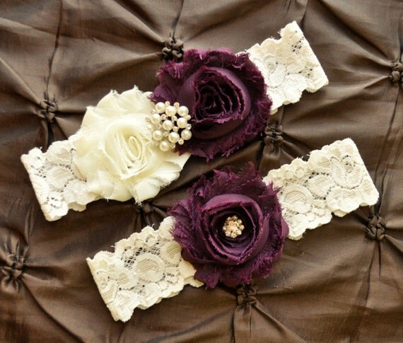 Ivory Garters Wedding: Plum Wedding Garter Bridal Garter Set Ivory By