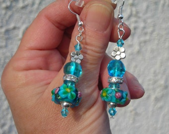 MURANO LAMPWORK floral blue OCEAN beads & Swarovski crystal beads long earrings.