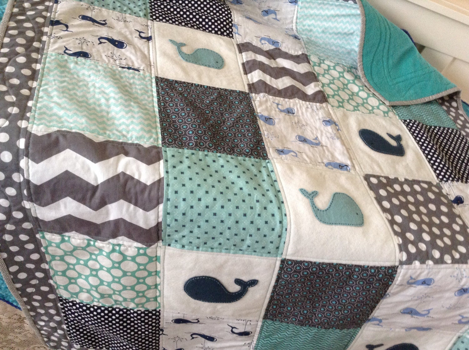 Whale Nautical Baby Quilt