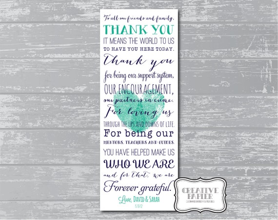 Custom Thank You Poem Wedding Signage Printable Modern