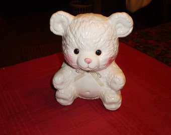 Napcoware Glazed Ceramic Cuddly Bear Planter Imported from Taiwan