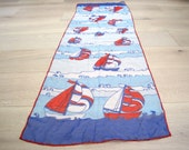 Vintage Sailboat Scarf Red White & Blue Nautical Neck Tie - Sailing Summer Scarf - 4th of July