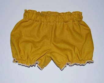 Solid mustard yellow linen fabric bloomers shorts baby toddler fall