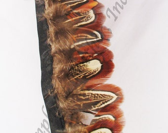 Feather Trim, Ringneck Almond, natural, per one yard