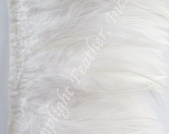 Rooster hackle trim, White on bias tape, per yard