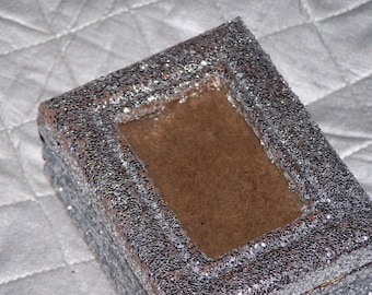 glitter box, trinket box, silver glitter, photo holder