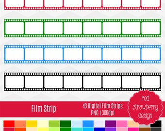 75% OFF Sale - Film Strip Clip Art - 43 Digital Clip Art - Instant Download - PNG (CA141)