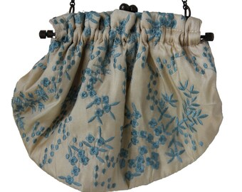 Vintage Cream and Robin's Egg Blue Embroidered Framed Bridal Bag