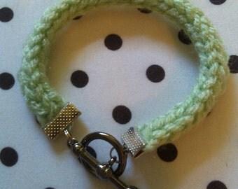 Hand Knit Green I-Cord Bracelet