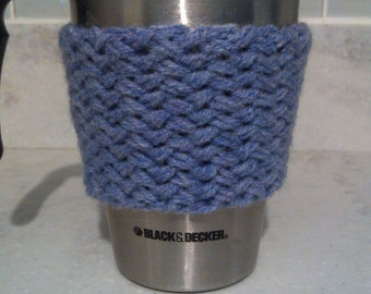 Hand Knit Lavender Basket Weave Cabled Coffee Sleeve