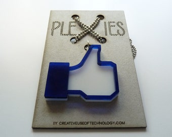 Necklace / pendant - acrylic laser cut - I like..