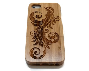wooden iphone 5 case / iphone 5S case wood - wood iphone 5 case bamboo, cherry and walnut wood - Flower
