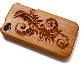 wooden Iphone 4 case / iphone 4S case - wood iphone 4 case bamboo, cherry and walnut wood - Flower