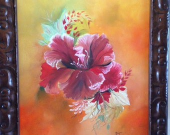 Hibiscus Painted with Oils