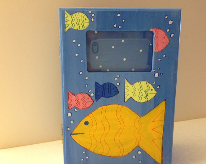 Solid Wood, Felt Lined, Fish Photo Box. Window for Picture on Front. Room inside for Treasures