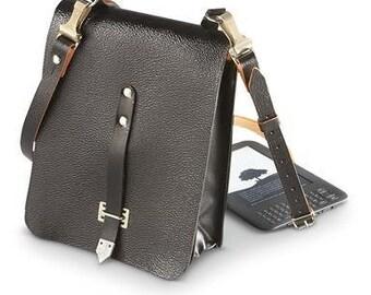 Vintage German Black Pebble Grain Leather Pouch Shoulder Messenger Bag Without Strap Tablet Map Case iPhone iPad mini Pannier