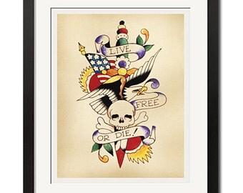 LIVE FREE or DIE Old School Tattoo Flash Art Poster Print