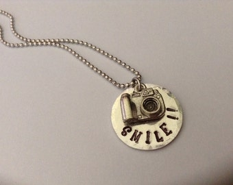 SMILE!! Hand stamped pendant with digital camera charm
